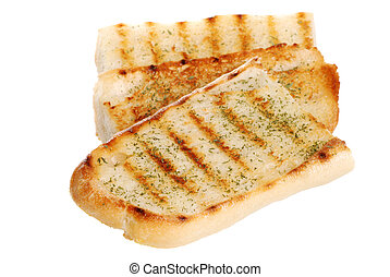 isolated garlic bread on white background