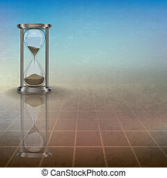abstract illustration with hourglass on blue - abstract...