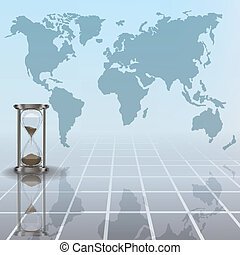 abstract illustration with hourglass and earth map -...