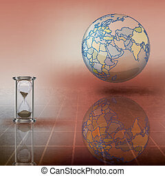 globe and hourglass on brown - abstract illustration with...