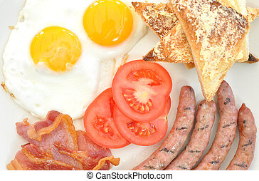 Cooked breakfast - Fried breakfast with sausages and eggs