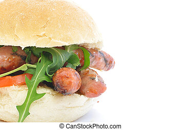 Sausage sandwich - Italian sausages inside a bread roll