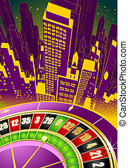 Abstract gambling illustration with roulette wheel and...