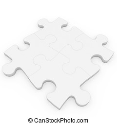 3d blank puzzle patch  isolated on white