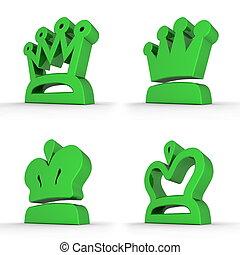四, 皇家,  -, 綠色, 王冠