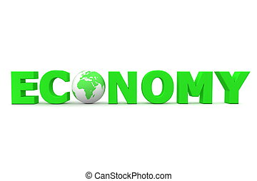 Economy World Green - green word Economy with 3D globe...
