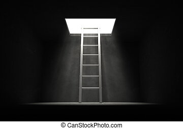 Exit the Dark - Grey Ladder to the Light