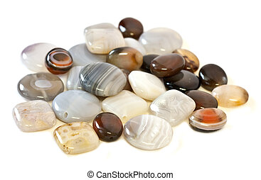 Agate gemstone beads in different colors and shapes