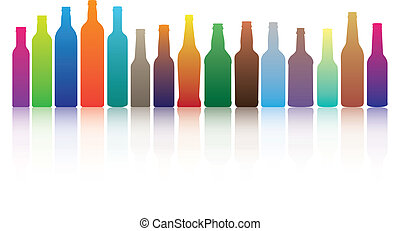 Colorful Bottles - colorful alcohol drink bottle silhouettes...