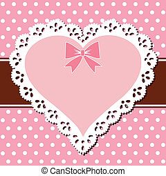 Lace pink heart - Oval vintage lace frame on a polka dot...