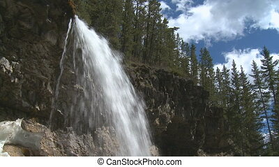 Mountain waterfalls - Overhanging waterfalls and forest