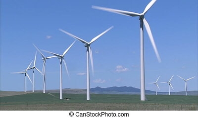 Wind Turbines - Group of wind turbines on wind farm