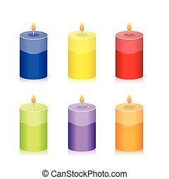 coloridos, vela, jogo