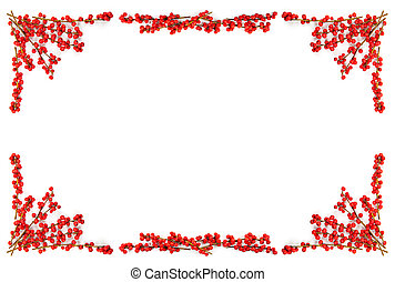 Christmas border with red berries - Red winterberry...