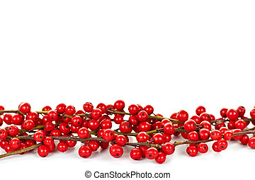 Red Christmas berries border - Red winterberry Christmas...