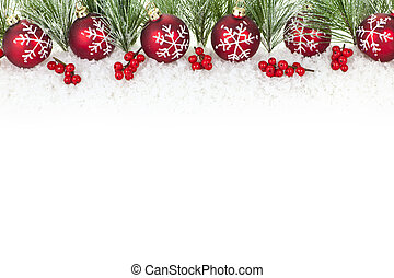 Christmas border with red ornaments and pine branches