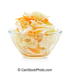 Bowl of coleslaw - Coleslaw in glass bowl on white...
