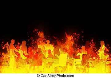 Meeting from hell - Rendered illustration of a business...