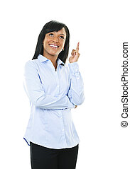 Smiling young woman has idea - Smiling black woman with idea...