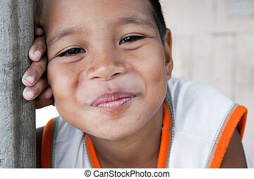 Smiling Philippine boy - Portrait of a smiling boy in the...