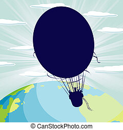 Hot air balloon - Cloudscape background with a hot air...