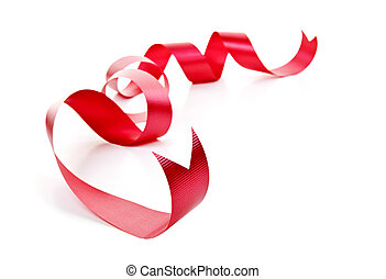 Curled red holiday ribbon