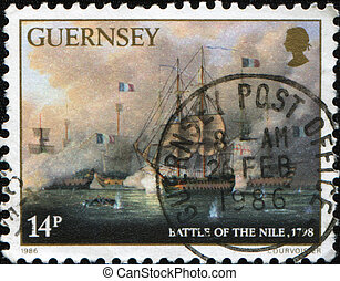 UNITED KINGDOM - CIRCA 1986: A stamp printed in the UK shows Battle of the Nile also known as the Battle of Aboukir Bay, 1798, circa 1986