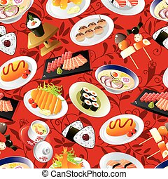 seamless Japanese food pattern - seamless Japanese food...