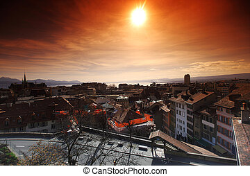 lausanne cityscape close up