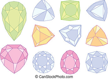 gem stones, vector - set of  gem stones, vector illustration