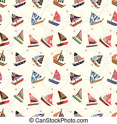 seamless sailboat pattern  - seamless sailboat pattern