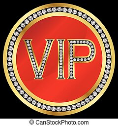 Vip with diamonds, vector