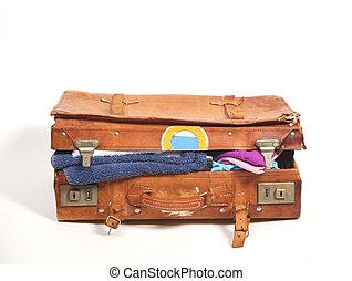 oversuffed suitcase - Old leather suitcase overstuffed