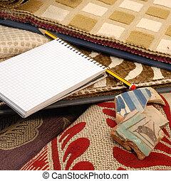 mudança, lar, Têxtil, decoração