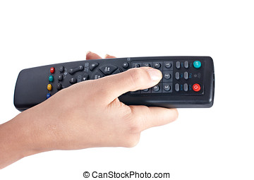 remote control - Remote control in hand isolated on white.