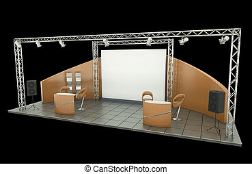 Trade Exhibition Stand - Tradeshow stand over black...
