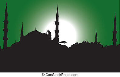 silhouette of the Blue Mosque