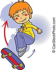 Skater Boy - Sporty boy with hooded sweatshirt skating in...