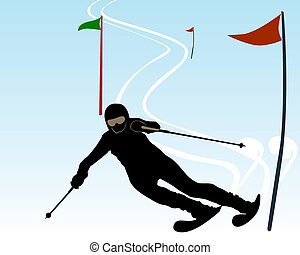 silhouette of an athlete skier