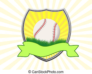 Baseball shield theme over striped background, vector...