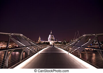 St Pauls Night - View of St Pauls from Tate modern at night