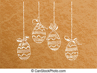 easter eggs - hanging easter eggs on the background