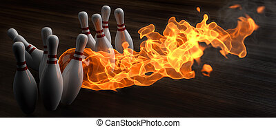 bowling - flaming bowling ball knocks down skittles 3d...
