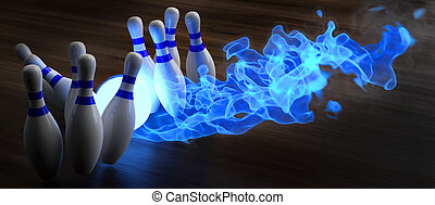 bowling - glowing blue light bowling ball knocks down...
