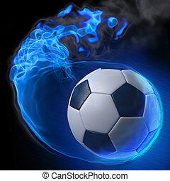 ball - magic soccer ball in the blue flame.