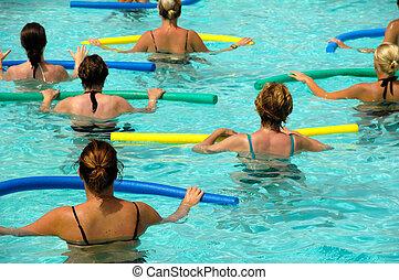 Wemen doing aerobic  - Wemen doing water aerobic in pool