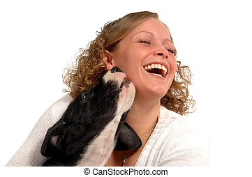 Happy woman and dog - A very happy woman and her sweet dog