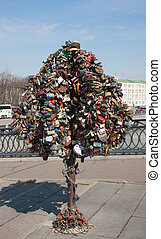 A tree with wedding locks on Luzhkov bridge. Moscow
