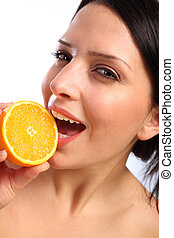 Vitamin C orange fruit for beautiful young woman - Top up on...