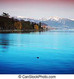 lake geneva landscape on sunrise